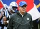 Oct 20, 2018; Durham, NC, USA; Duke Blue Devils head coach David Cutcliffe leads his team onto the field prior to a game against the Virginia Cavaliers at Wallace Wade Stadium. Mandatory Credit: Rob Kinnan-USA TODAY Sports