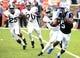 Oct 20, 2018; Durham, NC, USA; Duke Blue Devils receiver Johnathan Lloyd (5) returns a kick during the first half against the Virginia Cavaliers at Wallace Wade Stadium. Mandatory Credit: Rob Kinnan-USA TODAY Sports