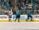 {Oct 20, 2018; San Jose, CA, USA; San Jose Sharks right wing Timo Meier (28) celebrates after scoring during the first period against the New York Islanders at SAP Center at San Jose. Mandatory Credit: Neville E. Guard-USA TODAY Sports