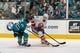 Oct 20, 2018; San Jose, CA, USA; San Jose Sharks defenseman Erik Karlsson (65) steals the puck from New York Islanders center Valtteri Filppula (51) during the first period at SAP Center at San Jose. Mandatory Credit: Neville E. Guard-USA TODAY Sports
