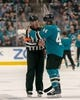 Oct 20, 2018; San Jose, CA, USA; San Jose Sharks defenseman Marc-Edouard Vlasic (44) talks with referee Brad Meier (34) during a time out during the first period at SAP Center at San Jose. Mandatory Credit: Neville E. Guard-USA TODAY Sports