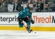 Oct 20, 2018; San Jose, CA, USA; San Jose Sharks left wing Evander Kane (9) skates with the puck during the second period against the New York Islanders at SAP Center at San Jose. Mandatory Credit: Neville E. Guard-USA TODAY Sports