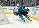 Oct 20, 2018; San Jose, CA, USA; San Jose Sharks right wing Timo Meier (28) passes the puck against \I55\ during the second period at SAP Center at San Jose. Mandatory Credit: Neville E. Guard-USA TODAY Sports