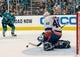 Oct 20, 2018; San Jose, CA, USA; New York Islanders goaltender Robin Lehner (40) makes a save during the second period against the San Jose Sharks at SAP Center at San Jose. Mandatory Credit: Neville E. Guard-USA TODAY Sports