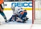 Oct 20, 2018; San Jose, CA, USA; New York Islanders goaltender Robin Lehner (40) makes a save against the San Jose Sharks during the second period at SAP Center at San Jose. Mandatory Credit: Neville E. Guard-USA TODAY Sports