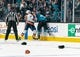 Oct 20, 2018; San Jose, CA, USA; San Jose Sharks right wing Barclay Goodrow (23) and New York Islanders defenseman Scott Mayfield (24) fight during the second period at SAP Center at San Jose. Mandatory Credit: Neville E. Guard-USA TODAY Sports