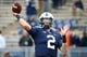 Oct 13, 2018; University Park, PA, USA; Penn State Nittany Lions quarterback Tommy Stevens (2) warms up prior to the game against the Michigan State Spartans at Beaver Stadium. Mandatory Credit: Rich Barnes-USA TODAY Sports