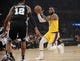 October 22, 2018; Los Angeles, CA, USA; Los Angeles Lakers forward LeBron James (23) moves to the basket against San Antonio Spurs forward LaMarcus Aldridge (12) during the first half at Staples Center. Mandatory Credit: Gary A. Vasquez-USA TODAY Sports
