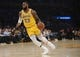 October 22, 2018; Los Angeles, CA, USA; Los Angeles Lakers forward LeBron James (23) controls the ball against the San Antonio Spurs during the first half at Staples Center. Mandatory Credit: Gary A. Vasquez-USA TODAY Sports