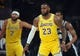 October 22, 2018; Los Angeles, CA, USA; Los Angeles Lakers forward LeBron James (23) in position to defend against the San Antonio Spurs during the first half at Staples Center. Mandatory Credit: Gary A. Vasquez-USA TODAY Sports