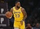 October 22, 2018; Los Angeles, CA, USA; Los Angeles Lakers forward LeBron James (23) moves the ball up court against the San Antonio Spurs during the first half at Staples Center. Mandatory Credit: Gary A. Vasquez-USA TODAY Sports