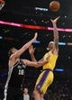 October 22, 2018; Los Angeles, CA, USA; Los Angeles Lakers forward Michael Beasley (11) moves in for a shot against San Antonio Spurs center Pau Gasol (16) during the first half at Staples Center. Mandatory Credit: Gary A. Vasquez-USA TODAY Sports
