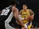October 22, 2018; Los Angeles, CA, USA; Los Angeles Lakers forward Kyle Kuzma (0) moves the ball against the San Antonio Spurs during the first half at Staples Center. Mandatory Credit: Gary A. Vasquez-USA TODAY Sports
