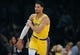 October 22, 2018; Los Angeles, CA, USA; Los Angeles Lakers guard Josh Hart (3) reacts after scoring a three point basket against the San Antonio Spurs during the second half at Staples Center. Mandatory Credit: Gary A. Vasquez-USA TODAY Sports
