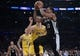 October 22, 2018; Los Angeles, CA, USA; San Antonio Spurs guard DeMar DeRozan (10) moves to the basket against the Los Angeles Lakers during the second half at Staples Center. Mandatory Credit: Gary A. Vasquez-USA TODAY Sports