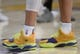 October 22, 2018; Los Angeles, CA, USA; The shoes of Los Angeles Lakers guard Lonzo Ball (2) pictured at Staples Center. Mandatory Credit: Gary A. Vasquez-USA TODAY Sports