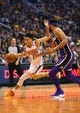 Oct 24, 2018; Phoenix, AZ, USA; Phoenix Suns guard Devin Booker (1) drives to the basket against Los Angeles Lakers center JaVale McGee in the first half at Talking Stick Resort Arena. Mandatory Credit: Mark J. Rebilas-USA TODAY Sports