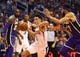 Oct 24, 2018; Phoenix, AZ, USA; Phoenix Suns guard Devin Booker (1) drives to the basket against Los Angeles Lakers center JaVale McGee (7) in the first half at Talking Stick Resort Arena. Mandatory Credit: Mark J. Rebilas-USA TODAY Sports