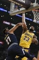 Oct 25, 2018; Los Angeles, CA, USA; Los Angeles Lakers forward LeBron James (23) blocks a shot by Denver Nuggets guard Jamal Murray (27) during the first half at Staples Center. Mandatory Credit: Kelvin Kuo-USA TODAY Sports