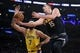 Oct 25, 2018; Los Angeles, CA, USA; Denver Nuggets center Nikola Jokic (15) attempts a shot while Los Angeles Lakers center JaVale McGee (7) defends  during the first half at Staples Center. Mandatory Credit: Kelvin Kuo-USA TODAY Sports
