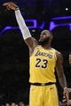 Oct 25, 2018; Los Angeles, CA, USA; Los Angeles Lakers forward LeBron James (23) reacts after a shot during the second half against the Denver Nuggets at Staples Center. Mandatory Credit: Kelvin Kuo-USA TODAY Sports