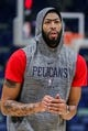 Oct 26, 2018; New Orleans, LA, USA; New Orleans Pelicans forward Anthony Davis (23) warming up before the game against Brooklyn Nets at Smoothie King Center. Mandatory Credit: Stephen Lew-USA TODAY Sports
