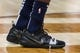 Oct 26, 2018; New Orleans, LA, USA; A detail of shoes worn by New Orleans Pelicans guard Jrue Holiday (11) during warmups against the Brooklyn Nets at Smoothie King Center. Mandatory Credit: Stephen Lew-USA TODAY Sports