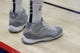 Oct 26, 2018; New Orleans, LA, USA; A detail of shoes worn by Brooklyn Nets guard Theo Pinson (10) during warmups against New Orleans Pelicans at Smoothie King Center. Mandatory Credit: Stephen Lew-USA TODAY Sports