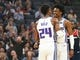Oct 26, 2018; Sacramento, CA, USA; Sacramento Kings guard Buddy Hield (24) celebrates with guard De'Aaron Fox (5) after a three point basket against the Washington Wizards during the first quarter at Golden 1 Center. Mandatory Credit: Kelley L Cox-USA TODAY Sports