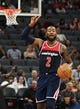 Oct 26, 2018; Sacramento, CA, USA; Washington Wizards guard John Wall (2) calls out to teammates during the second quarter against the Sacramento Kings at Golden 1 Center. Mandatory Credit: Kelley L Cox-USA TODAY Sports