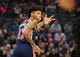 Oct 26, 2018; Sacramento, CA, USA; Washington Wizards forward Kelly Oubre Jr. (12) gestures after scoring a three-point basket against the Sacramento Kings during the second quarter at Golden 1 Center. Mandatory Credit: Kelley L Cox-USA TODAY Sports