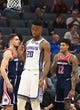 Oct 26, 2018; Sacramento, CA, USA; Sacramento Kings forward Harry Giles (20) reacts after a basket against the Washington Wizards during the first quarter at Golden 1 Center. Mandatory Credit: Kelley L Cox-USA TODAY Sports