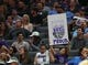 Oct 26, 2018; Sacramento, CA, USA; A Sacramento Kings fans holds a sign during the third quarter against the Washington Wizards at Golden 1 Center. Mandatory Credit: Kelley L Cox-USA TODAY Sports