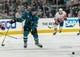 Oct 20, 2018; San Jose, CA, USA; San Jose Sharks defenseman Brenden Dillon (4) skates during the first period against the New York Islanders at SAP Center at San Jose. Mandatory Credit: Neville E. Guard-USA TODAY Sports