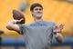 Oct 27, 2018; Pittsburgh, PA, USA;  Duke Blue Devils quarterback Daniel Jones (17) warms up before playing the Pittsburgh Panthers at Heinz Field. Mandatory Credit: Charles LeClaire-USA TODAY Sports