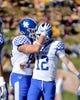 Oct 27, 2018; Columbia, MO, USA; Kentucky Wildcats place kicker Chance Poore (12) is congratulated by punter Grant McKinniss (86) after Poore's field goal during the first half against the Missouri Tigers at Memorial Stadium/Faurot Field. Mandatory Credit: Denny Medley-USA TODAY Sports