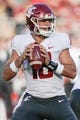Oct 27, 2018; Stanford, CA, USA; Washington State Cougars quarterback Gardner Minshew (16) drops back to throw the football against the Stanford Cardinal during the first quarter at Stanford Stadium. Mandatory Credit: Stan Szeto-USA TODAY Sports