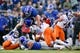 Oct 27, 2018; Colorado Springs, CO, USA; Boise State Broncos cornerback Tyler Horton (14) tackles Air Force Falcons fullback Cole Fagan (34) in the first quarter at Falcon Stadium. Mandatory Credit: Isaiah J. Downing-USA TODAY Sports