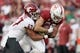 Oct 27, 2018; Stanford, CA, USA; Washington State Cougars linebacker Peyton Pelluer (47) tackles Stanford Cardinal tight end Kaden Smith (82) during the second quarter at Stanford Stadium. Mandatory Credit: Stan Szeto-USA TODAY Sports