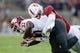 Oct 27, 2018; Stanford, CA, USA; Stanford Cardinal linebacker Sean Barton (27) tackles Washington State Cougars running back James Williams (32) during the second quarter at Stanford Stadium. Mandatory Credit: Stan Szeto-USA TODAY Sports