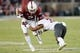 Oct 27, 2018; Stanford, CA, USA; Washington State Cougars cornerback Darrien Molton (3) attempts to tackle Stanford Cardinal wide receiver Trenton Irwin (2) during the third quarter at Stanford Stadium. Mandatory Credit: Stan Szeto-USA TODAY Sports