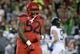 Oct 27, 2018; Tucson, AZ, USA; Arizona Wildcats defensive tackle PJ Johnson (52) celebrates after making a stop against the Oregon Ducks during the first half at Arizona Stadium. Mandatory Credit: Casey Sapio-USA TODAY Sports