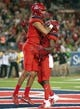 Oct 27, 2018; Tucson, AZ, USA; Arizona Wildcats wide receiver Shawn Poindexter (19) (left) and wide receiver Shun Brown (6) celebrate after scoring a touchdown against the Oregon Ducks during the second half at Arizona Stadium. Mandatory Credit: Casey Sapio-USA TODAY Sports