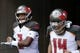 Oct 28, 2018; Cincinnati, OH, USA; Tampa Bay Buccaneers quarterback Jameis Winston (3) takes the field with quarterback Ryan Fitzpatrick (14) during warmups prior to the game against the Cincinnati Bengals at Paul Brown Stadium. Mandatory Credit: Aaron Doster-USA TODAY Sports