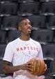 Oct 26, 2018; Toronto, Ontario, CAN; Toronto Raptors guard Delon Wright (55) warms up before a game against the Dallas Mavericks at Scotiabank Arena. Mandatory Credit: Nick Turchiaro-USA TODAY Sports