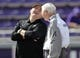 Nov 3, 2018; Fort Worth, TX, USA; TCU Horned Frogs head coach Gary Patterson (left) laughs with Kansas State Wildcats head coach Bill Snyder (right) before the game at Amon G. Carter Stadium. Mandatory Credit: Kevin Jairaj-USA TODAY Sports