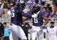 Nov 3, 2018; Fort Worth, TX, USA; TCU Horned Frogs running back Darius Anderson (6) celebrates with offensive tackle Austin Myers (56) after scoring a touchdown during the first half against the Kansas State Wildcats at Amon G. Carter Stadium. Mandatory Credit: Kevin Jairaj-USA TODAY Sports