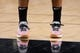 Nov 3, 2018; San Antonio, TX, USA; A general view of the sneakers worn by San Antonio Spurs point guard Patty Mills (8) prior to a game against the New Orleans Pelicans at AT&T Center. Mandatory Credit: Soobum Im-USA TODAY Sports
