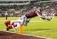 Nov 3, 2018; Starkville, MS, USA; Mississippi State Bulldogs wide receiver Stephen Guidry (1) dives into the end zone with Louisiana Tech Bulldogs defensive back Jordan Baldwin (28) trying to tackle him for an 11-yard pass reception touchdown during the first half at Davis Wade Stadium. Mandatory Credit: Vasha Hunt-USA TODAY Sports