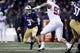 Nov 3, 2018; Seattle, WA, USA; Washington Huskies quarterback Jake Browning (3) scrambles in the backfield against the Stanford Cardinal during the first quarter at Husky Stadium. Mandatory Credit: Jennifer Buchanan-USA TODAY Sports